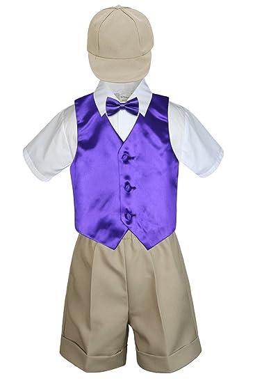 319baf3abfe8 Amazon.com  5 PC Baby Toddler Boys Purple Vest Bow Tie Khaki Shorts ...