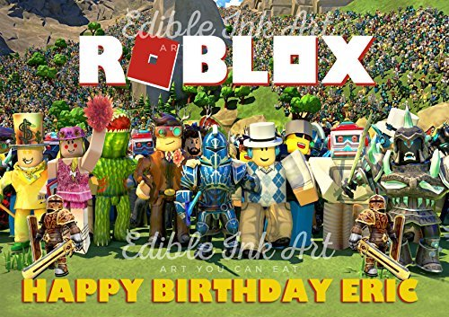 Roblox Edible Cake Topper Personalized Birthday 1/4 Sheet Decoration Custom Sheet Party Birthday on Wafer Rice Paper
