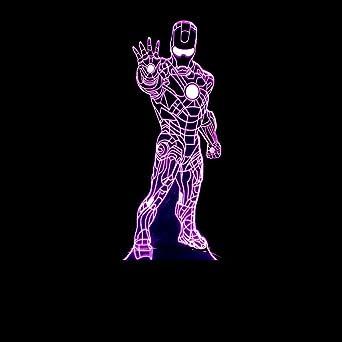 De 3d Iron Bureau Lumières Lampe Longless Nuit Man 8OwnP0k
