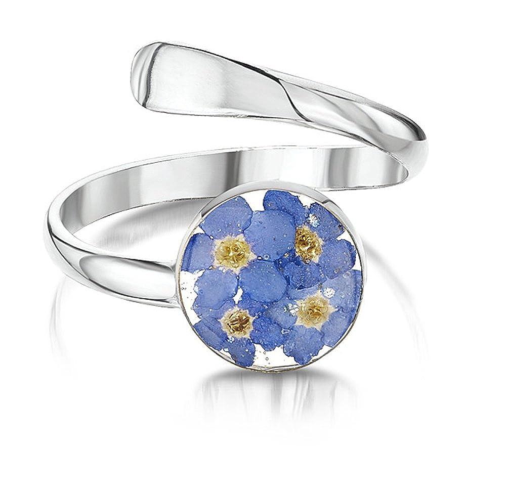 Bijoux en argent avec véritables fleurs: Bague réglable–Myosotis–Ronde en Boîte Cadeau SH ARF01