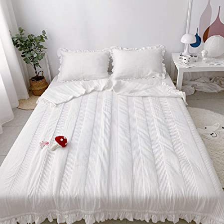 TOSBTD Colcha de Verano, Material de Gasa de algodón Acolchado Artesanal Sueño con Volantes para dormitorios de niños y niñas Jardín de Infancia,White,180 * 210cm: Amazon.es: Hogar