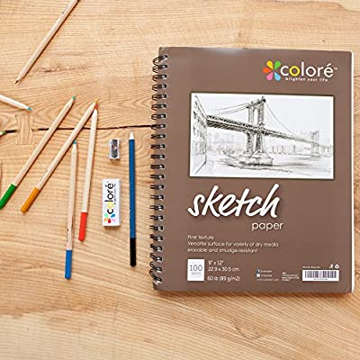 Colore Sketch Pad - Durable Sketching Paper And Notebook Material - Great For Drawing With Colored Pencils - 9x12 Spiral Sketchbook - Perfect Art Book & Craft Supplies Set For Teens & Artists