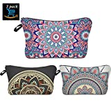 Flower Makeup Bag,Prime Sale Day Deals Week-Handy Travel Cosmetic Makeup Clutch Bag Case Pouch Nylon Zipper Carry On Bag Various Colors for Women Multifuncition Pencil Holder Pouch (Boho 3 Pack)