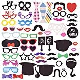Amzbear Photo Booth Props 58 Pieces DIY Kits for Wedding Christmas Birthday Party Dress-up Accessories (58)