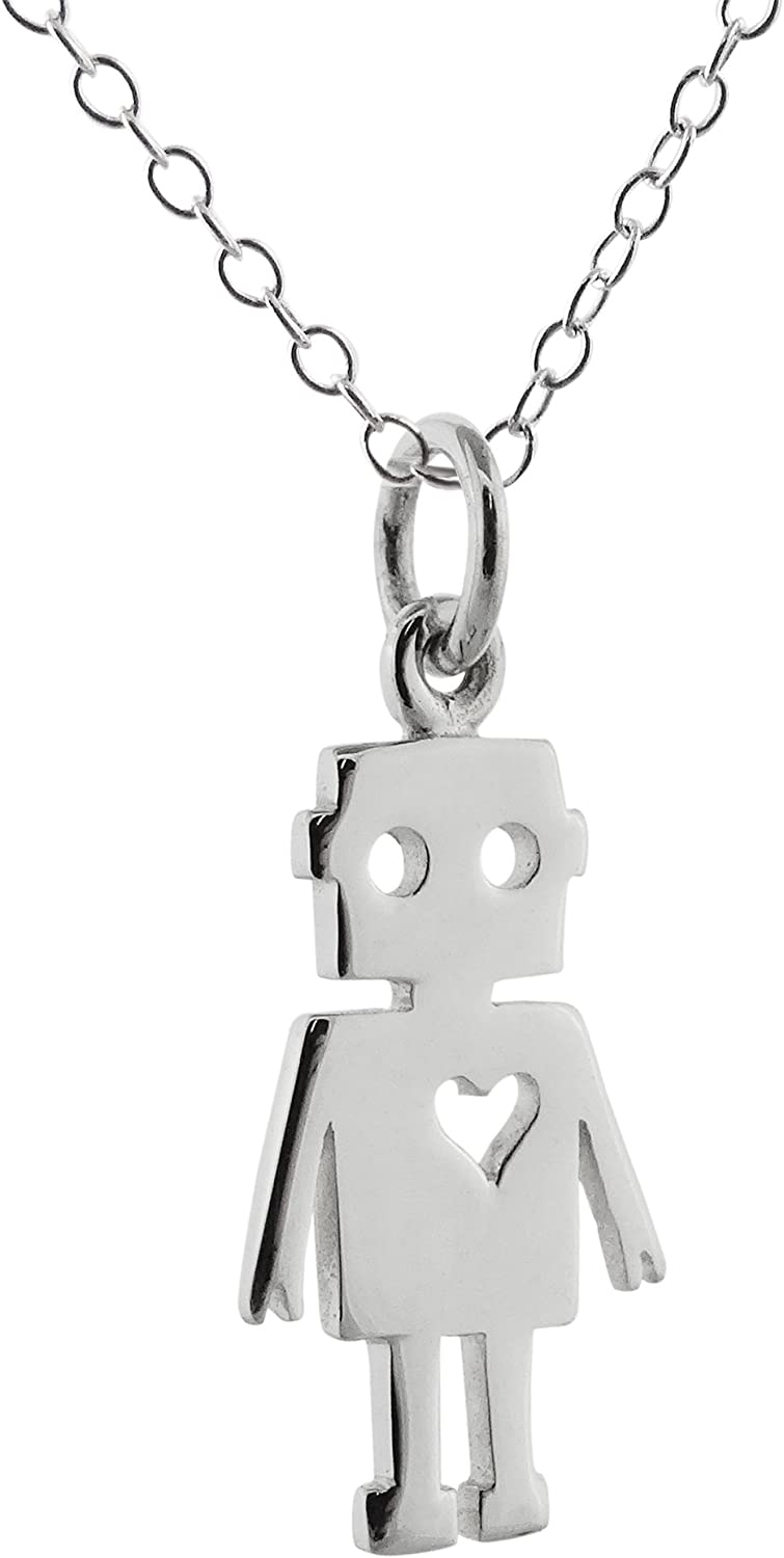FashionJunkie4Life Sterling Silver Dachshund Dog with Heart Cutout Charm Pendant Necklace 18 Inch Chain