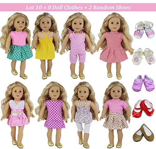 [해외]ZITA ELEMENT 10 세트 의류 및 액세서리 아메리칸 걸 인형 디자인 - 핸드메이드 패션 아웃핏 데일파티 드레스 슈즈는 40.64cm 인형에 맞습니다 / ZITA ELEMENT Fashion 8 Sets Clothes Dress and 2 Shoes for American 18 Inch Girl Doll Outfits