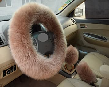 1Set Long Furry Steering Wheel Cover Shifter Cover and Parking Brake Cover Black
