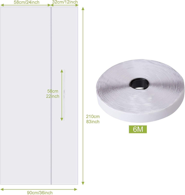210 x 90 CM LIHAO Blanca Cubierta Aislante Tela para Puertas Aire Acondicionado Port/átil