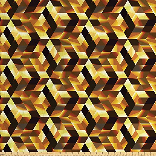 Cortina Blocks - Ambesonne Abstract Fabric by the Yard, Cubes and Blocks Form Abstract Style Geometric Digital Graphic Art Pattern, Decorative Fabric for Upholstery and Home Accents, Black Yellow Brown