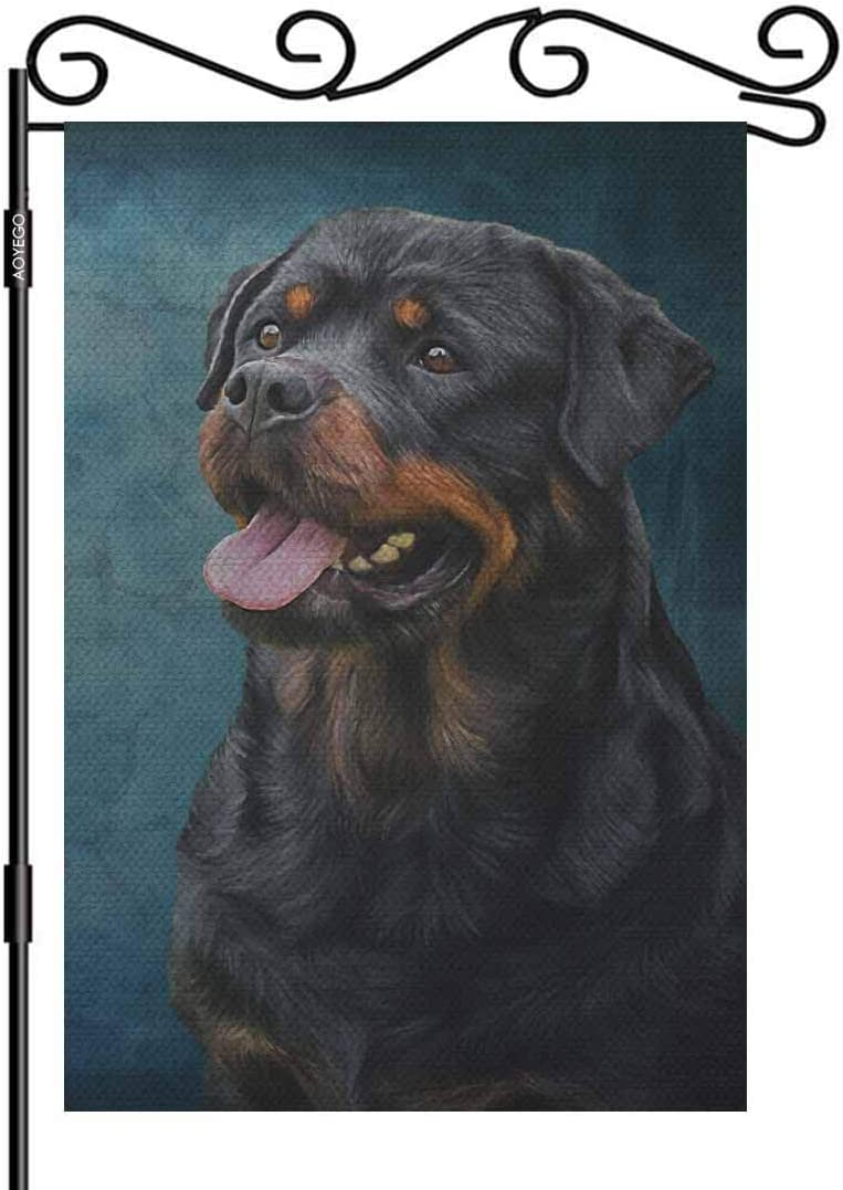 AOYEGO Dog Rottweiler Small Garden Flag Vertical Double Sided 12.5 x 18 Inch Tricolor, Portrait on Old Vintage Color Grunge Paper Farmhouse Burlap Yard Outdoor Decor