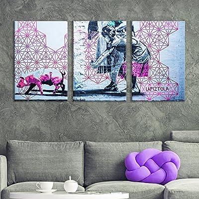3 Panel Canvas Wall Art - Triptych Street Graffiti Series - Geometric Piggy - Giclee Print Gallery Wrap Modern Home Art Ready to Hang - 16