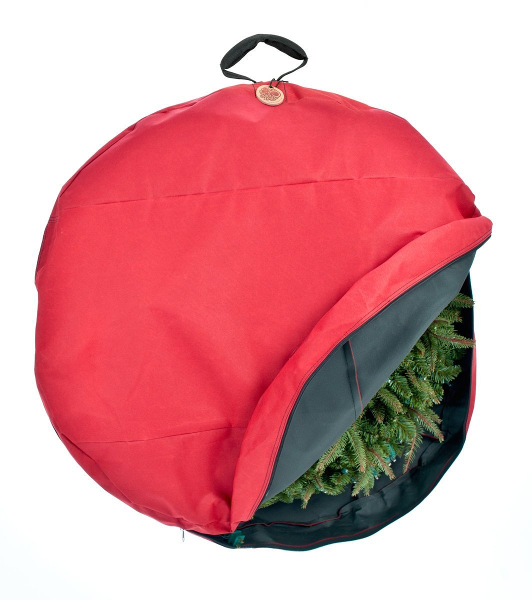 TreeKeeper Wreath Storage Bag with Direct Suspend Handle, Red, 24-Inch by TreeKeeper
