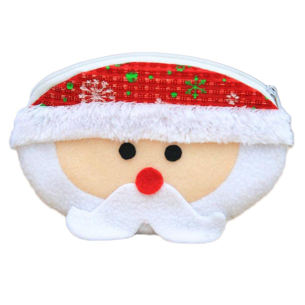 Demarkt 1 Pcs Noël Porte-monnaie Mignon Père Noël Zipper Portefeuille Loisir Non-tissés sacs à Bonbons pour Coin Rouge à lèvres clés Sacs Cosmétiques Sac Cadeau 17.5*12.5cm Blanc