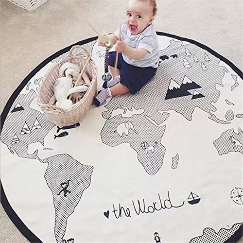 53 Inches Adventure World Map Pattern Baby Crawling Mats Game Blanket Floor Playmats Kids Infant Child Activity Round Rug (Best Baby Play Mat Australia)