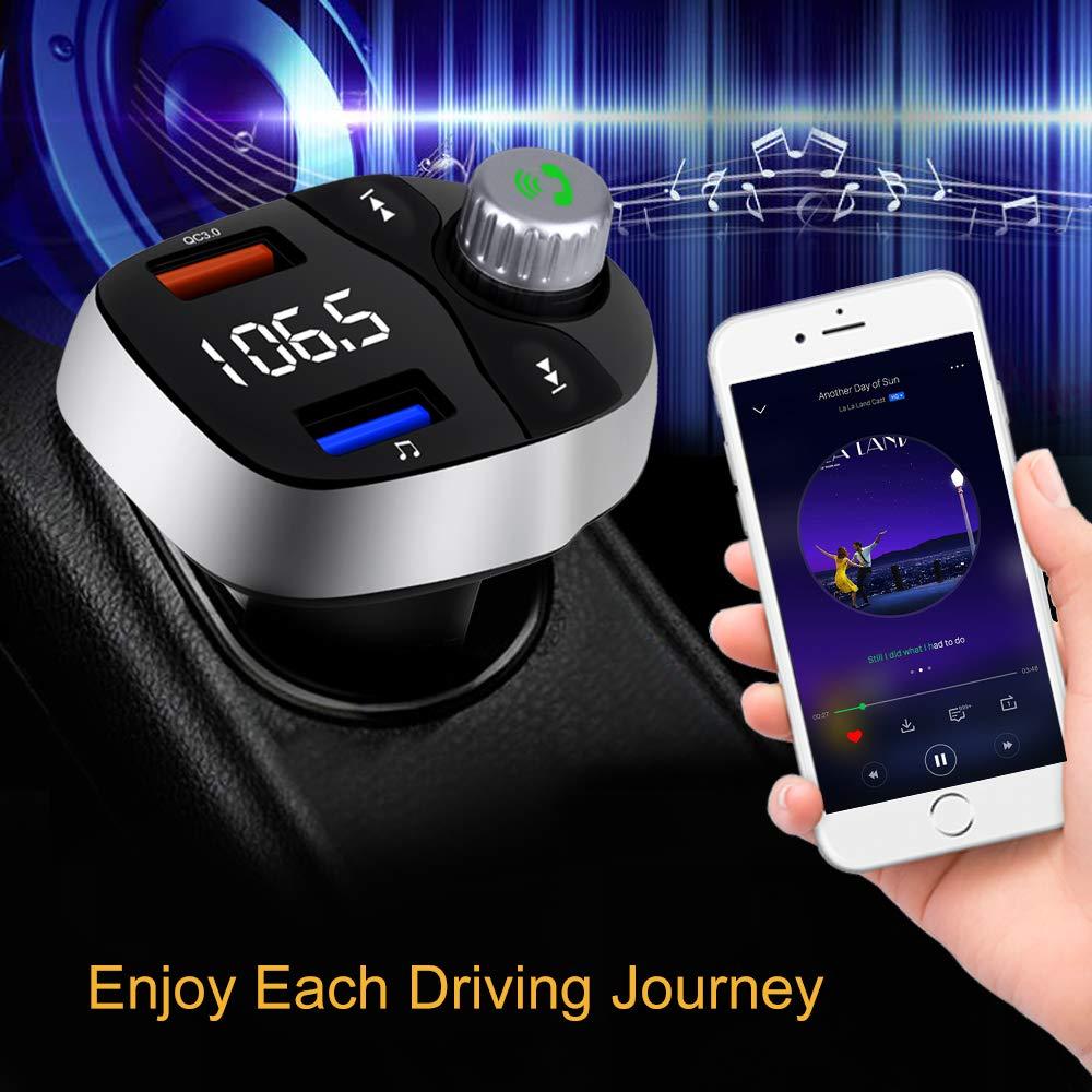 Aigoss FM Transmitter Vivavoce Bluetooth 5.0 Adattatori Car Kit Microfono Incorporato,Supporto TF//USB Auto MP3 Lettore con Porta USB e Caricatore Rapido 3.0 Porta