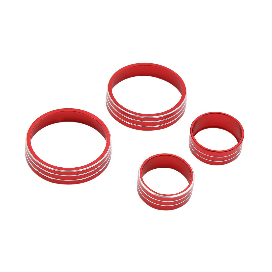 uxcell 4pcs Red Air Condition Switch Audio Button Decorative Ring Set for Kia KX5