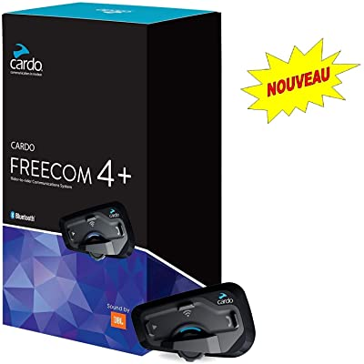 Cardo FREECOM 4 PLUS - 4-Way Motorcycle Bluetooth Communication System With Natural Voice Operation, Sound By JBL (Single Pack): Automotive