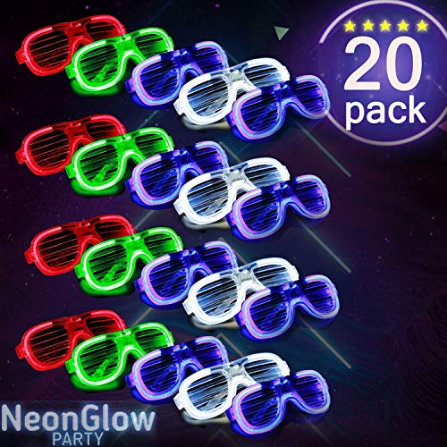 HDHF 2019 New Upgrade LED Glasses Neon Party Supplies 20 Pack Light Up Glasses,4 Color LED Sunglasses Shutter Shades Light Up Plastic Shutter Shades for Adults Kids Glow in The Dark Party Favors