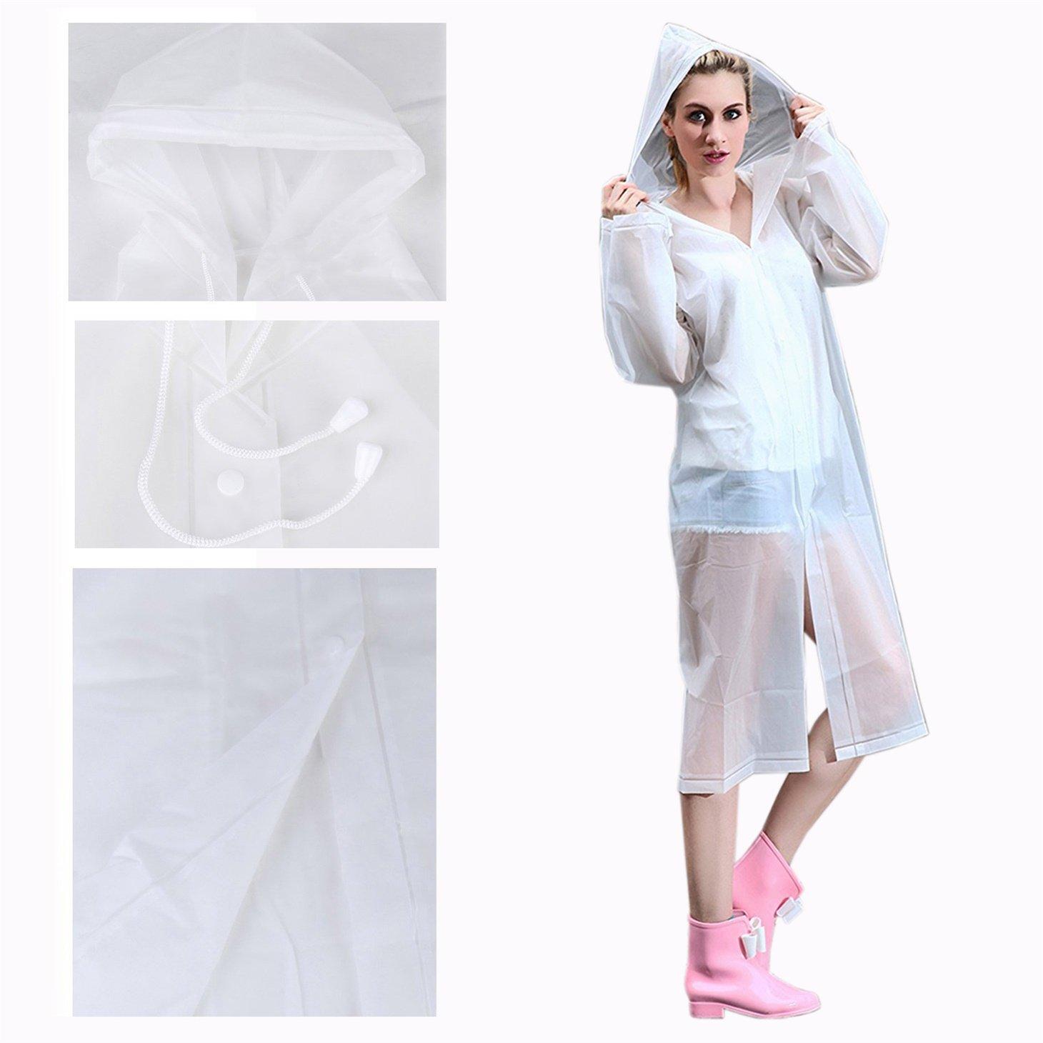 Gearmax Vêtements de Pluie Translucide Imperméable à Capuche Manteau Costume Imperméables Réutilisable pour Randonnée Pédestre, Escalade