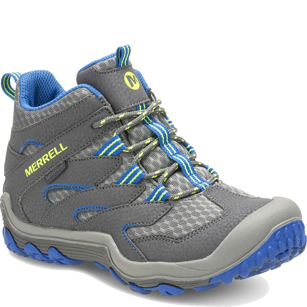 Merrell Chameleon 7 Access Mid Waterproof Boot Big Kid 4.5 Grey/Blue