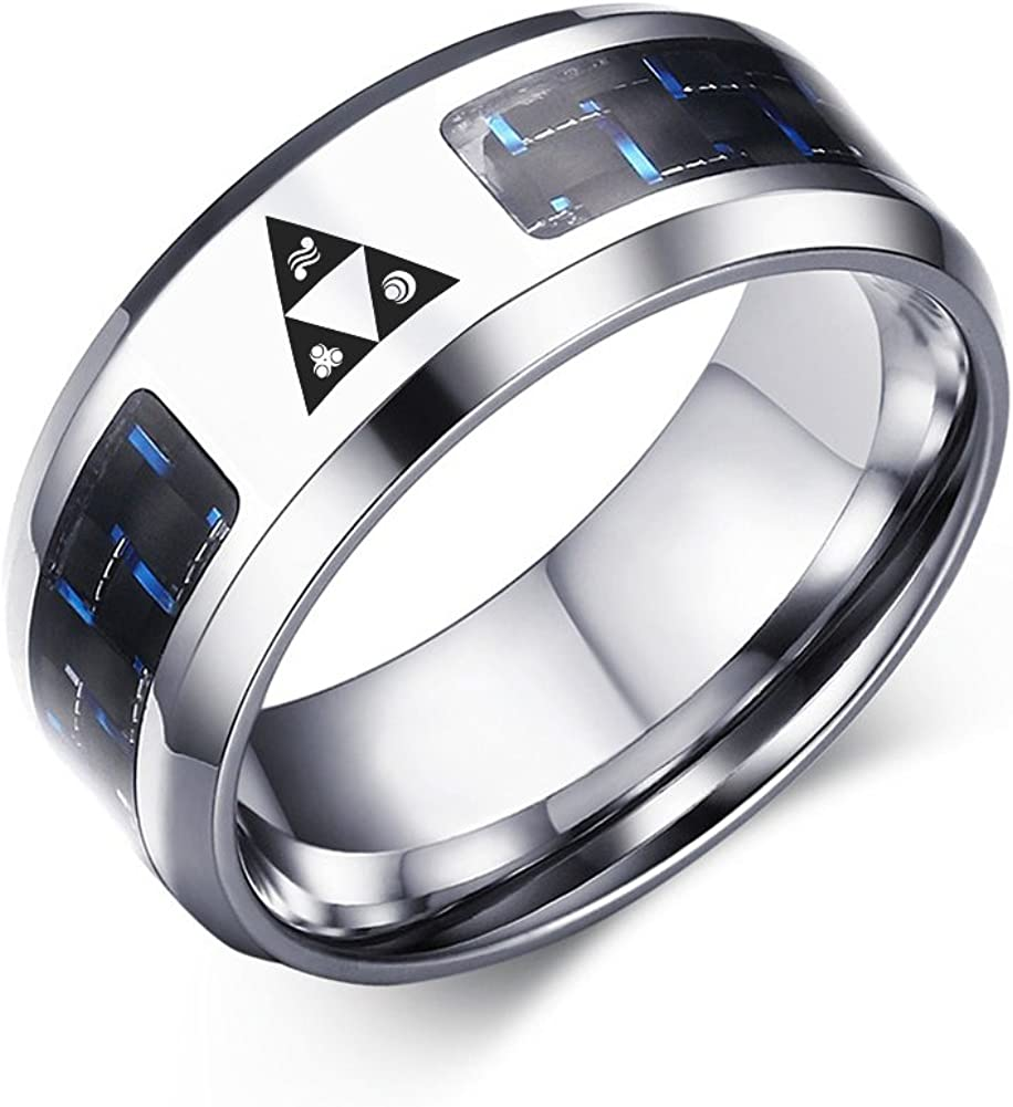 VNOX Legend of Zelda Triforce Stainless Steel Blue Carbon Fiber Rings for Men Boy,Size 7-12