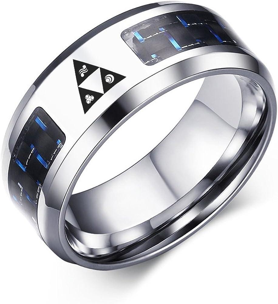 VNOX Legend of Zelda Triforce Stainless Steel Blue Carbon Fiber Rings for Men Boy,Size 7-12