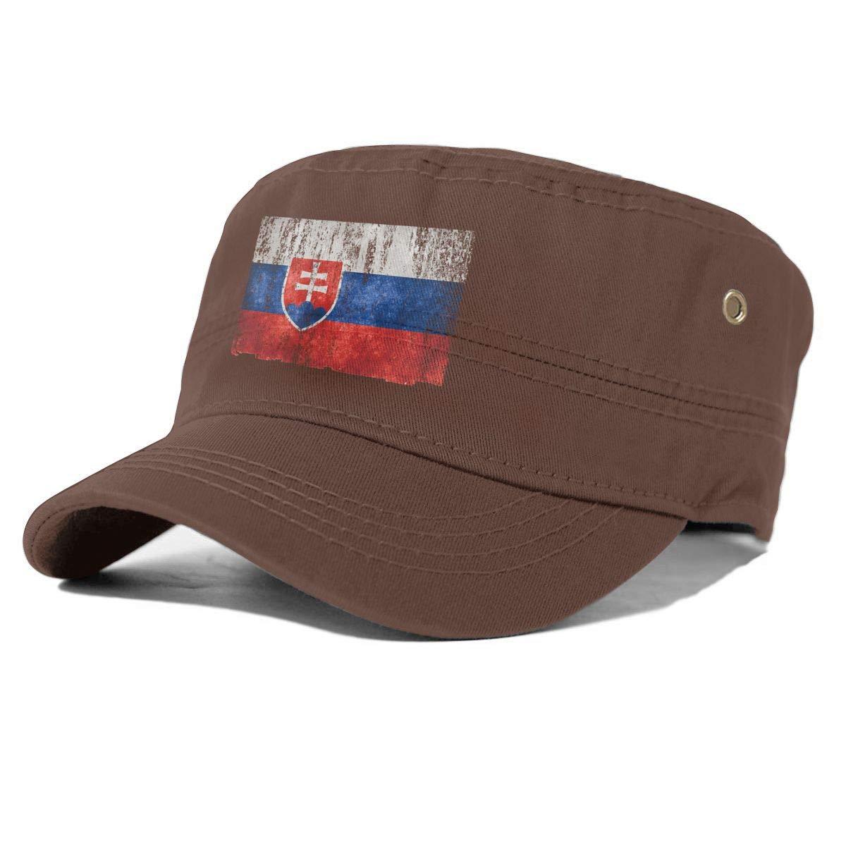 Slovak Flag Unisex Adult Cotton Military Army Cap Flat Top Hat