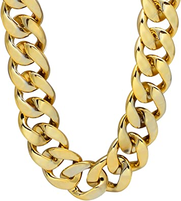 Gold-Tone Plated Sterling Silver Hollow Curb Hip Hop Chain Necklace Length 26