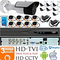 USG Business Grade 3MP (2048x1536) 8 Camera CCTV Kit : 8x 3MP 2.8mm Wide Angle Bullet Cameras + 1x 8 Channel 3MP DVR + 1x 4TB HDD + 8x 100ft CCTV Cable + 2x 4 Channel Power Supply : Apple Android App