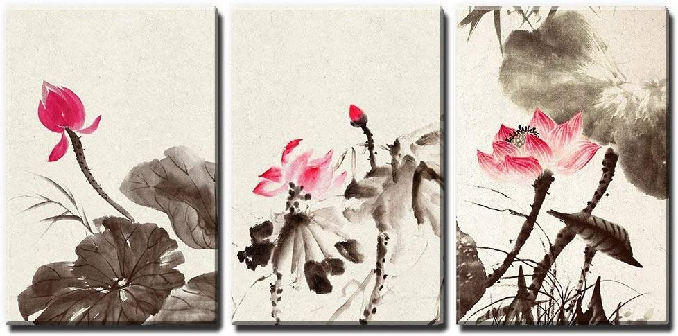 Wonderful Composition, With a Professional Touch, 3 Panel Chinese Ink and Wash Painting Style Lotus Flowers x 3 Panels