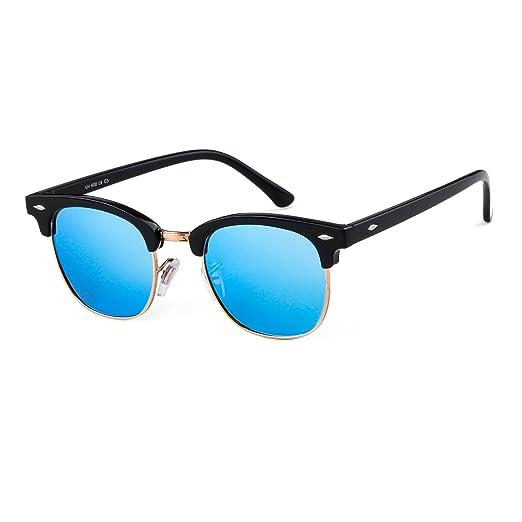 1c28a4a151f Amazon.com  Classic Semi Rimless UV400 Clubmaster sunglasses Frame ...