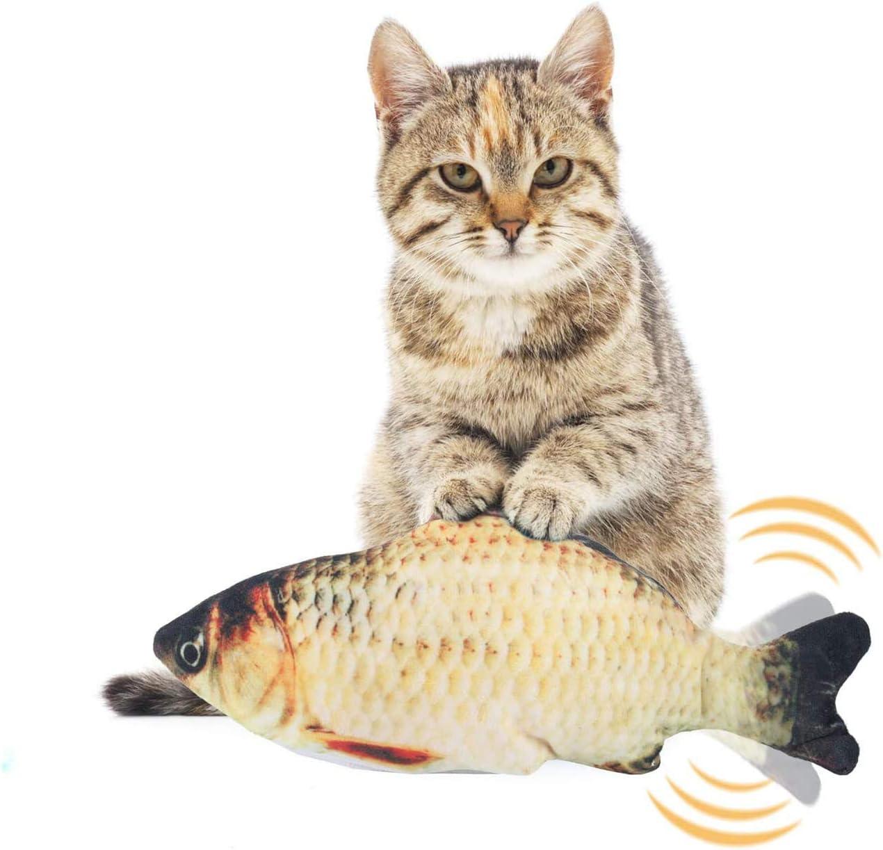 EKKONG Juguete Hierba Gatera,Juguete Interactivo, Simulación de Peces de Peluche Juguetes, Catnip Fish Toys, Juguete Electrico Automático para Gatos Gatito (Type A)