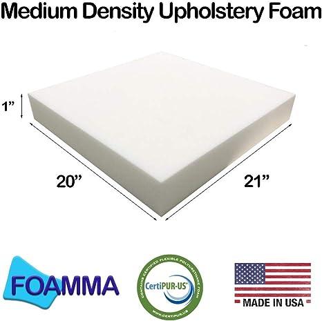 FOAMMA 8 x 21 x 21 Upholstery Foam High Density Foam Chair Cushion Square Foam for Dinning Chairs, Wheelchair Seat Cushion Replacement