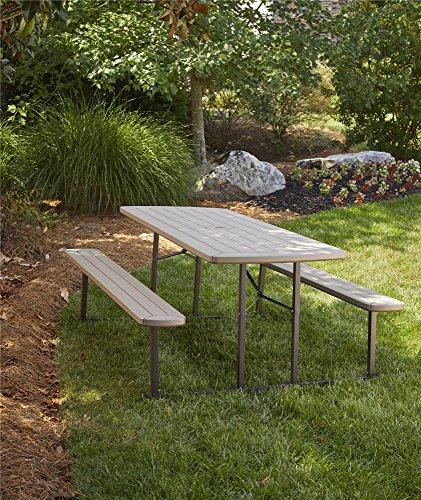 (COSCO 87902GRY1E Outdoor Living 6 ft. Folding Picnic Table, Gray Wood Grain )