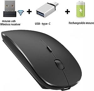 Wireless Mouse for Laptop Mac Desktop Computer Wireless Mouse for MacBook pro MacBook Air Laptop Windows iMac(Not for ipad) (Black)
