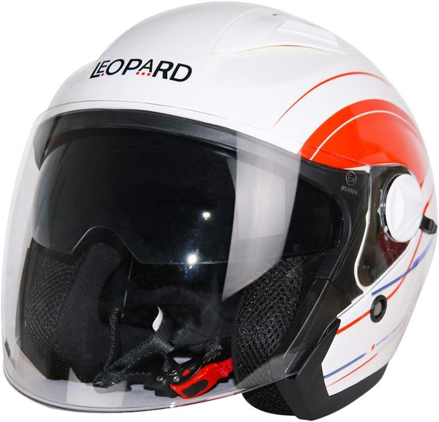 Leopard LEO-608 Offenes Gesicht Jethelme mit Doppelvisier Motorradhelm Damen und Herren ECE Genehmigt