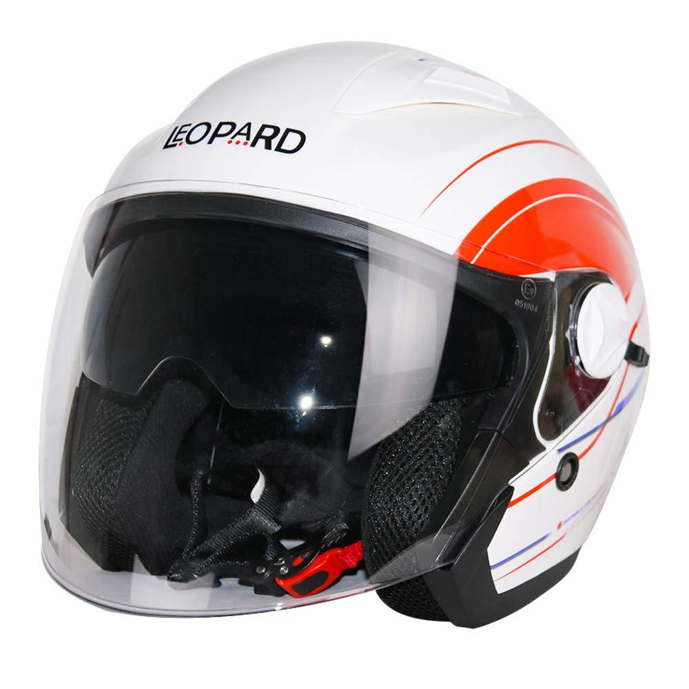 Leopard LEO-608 Double Sun Visor Open Face Motorbike Motorcycle Helmet Road Legal Graphic Blue XXL 63-64cm