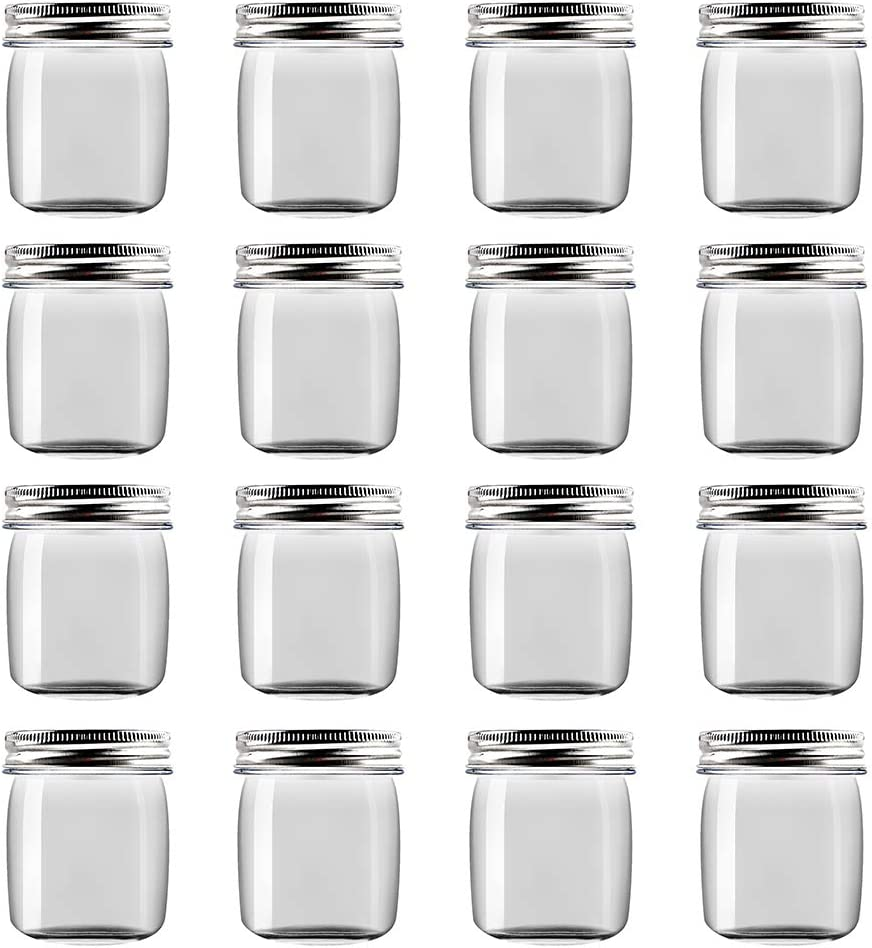 Novelinks 8 Ounce Clear Plastic Jars Containers With Screw On Lids - Refillable Round Empty Plastic Slime Storage Containers for Kitchen & Household Storage - BPA Free (16 Pack)