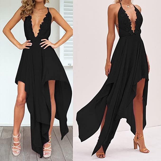 Elevin(TM) Women Wedding Party Long Dresses Evening Gown Mermaid Lace Hollow Deep V Neck at Amazon Womens Clothing store: