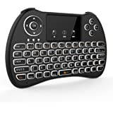 Tripsky H9 Backlit 2.4GHz Mini Wireless Keyboard, Handheld Remote With Touchpad Mouse For Android TV Box, Windows PC, HTPC, IPTV, Raspberry Pi, XBOX 360, PS3, PS4(Rechargeable Li-ion Battery, Black)