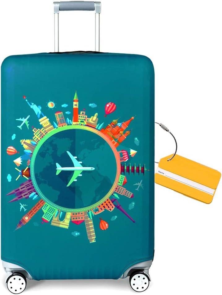 OrgaWise Luggage Cover con Cremallera, Suave de Anti-Polvo, Elástico Cabe 22-28 Pulgadas Funda Maleta (M, L) (Viaje, L (25''-28'' Maleta))