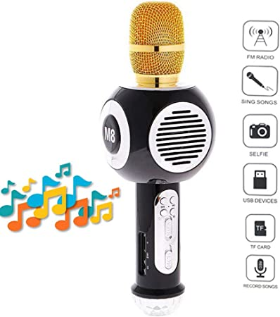 E-kinds Portable Colorido Neon teléfono móvil Karaoke transmisión en Vivo de micrófono inalámbrico Bluetooth Condensador KTV micrófono,Black: Amazon.es: Hogar