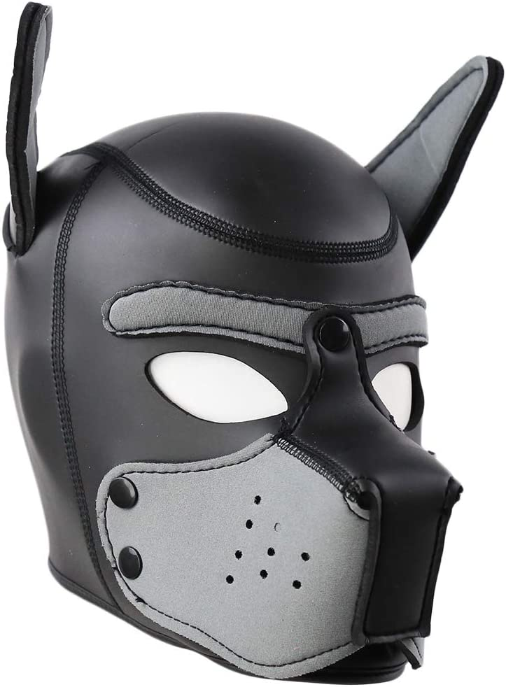 S, A Cosplay Party Full Head Props for Halloween Aiccossr Neoprene Puppy Hood Mask Unisex Dog Head with Ears Roleplay Costume