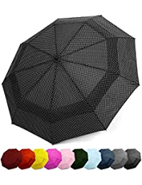 Compact Travel Umbrella w/Windproof Double Canopy Construction - Auto Open/Close Button