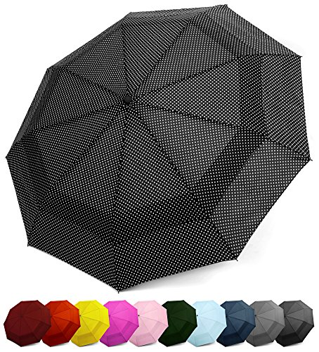 EEZ-Y Compact Travel Umbrella w/Windproof Double Canopy Construction - Auto Open/Close Button ()