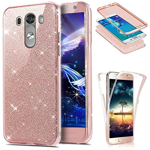 LG G3 Case LEECOCO 360 Degree All-Round Protective Case Bling Glitter Sparkly Anti Scratch Soft Transparent TPU Silicone Case Cover for LG G3 Full Glitter Rose Gold (Phone G3 Gold Case Lg)