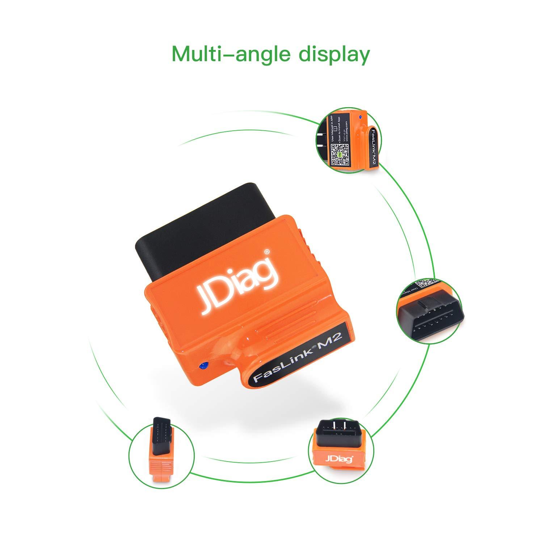 JDIAG Lecteur de Code de Scanner Bluetooth OBD2 Outil de Diagnostic de v/éhicule Professionnel Faslink M2 Compatible iPhone Orange iPad /& Android
