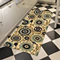 Custom Size Beige Floral Medallion Rubber Backed Non-Slip Hallway Stair Runner Rug Carpet 22 inch Wide Choose Your Length