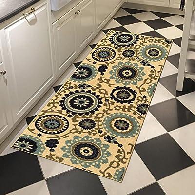 Custom Size Beige Floral Medallion Rubber Backed Non-Slip Hallway Stair Runner Rug Carpet 22 inch Wide Choose Your Length