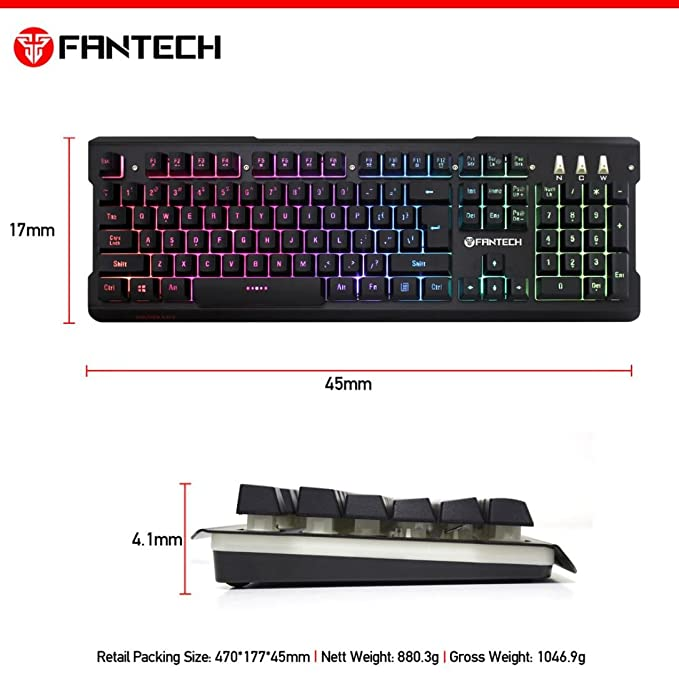 Amazon.com : FANTECH K612 Professional Wired 104 Keys 9 Colors Backlight Game Waterproof Keyboard Affordable Dreamyth (Black) : Sports & Outdoors